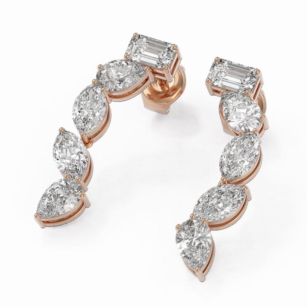 2.7 ctw Mix Cut Diamonds Designer Earrings 18K Rose Gold - REF-428W9H