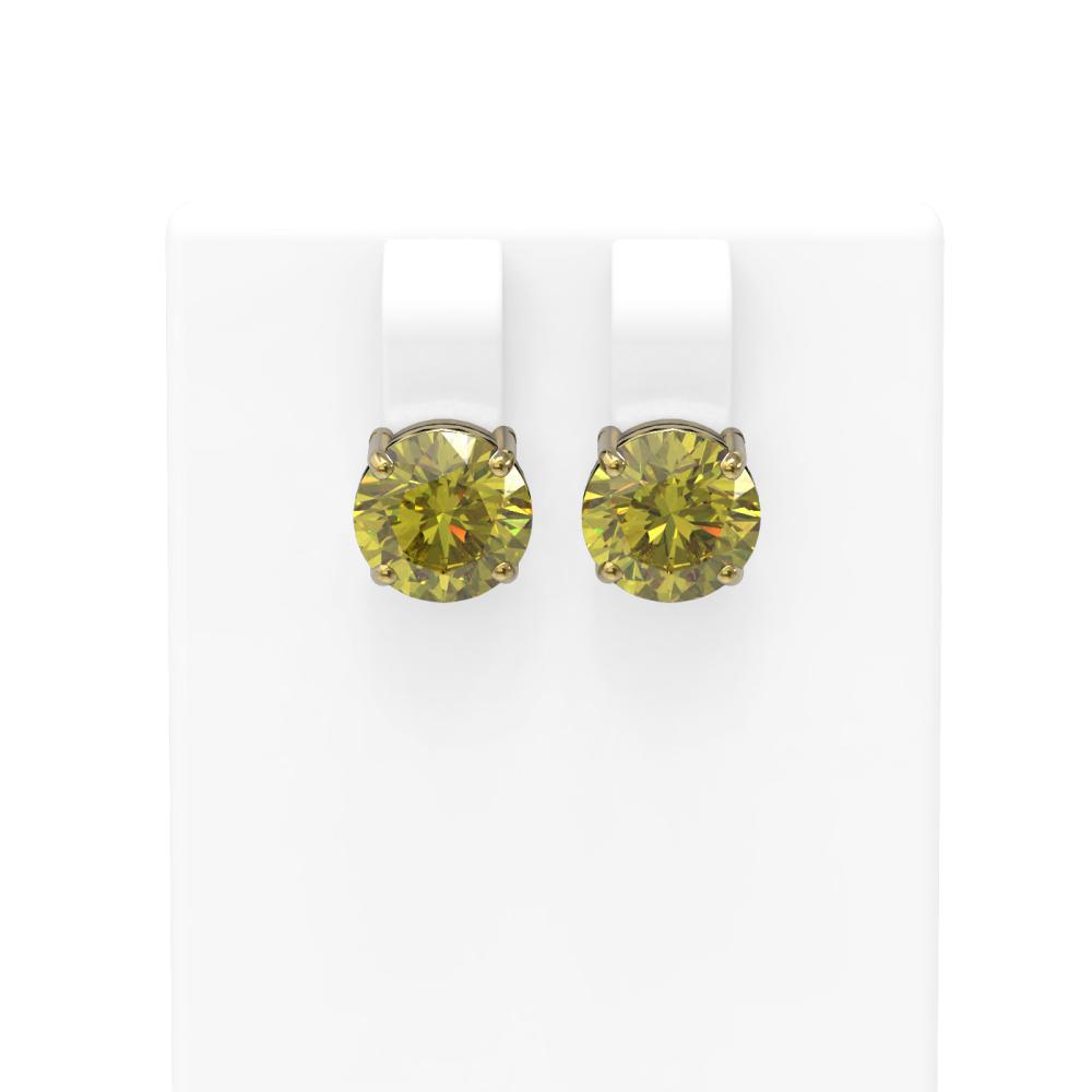 4 ctw Fancy Yellow Diamond Earrings 18K Yellow Gold - REF-859R3K