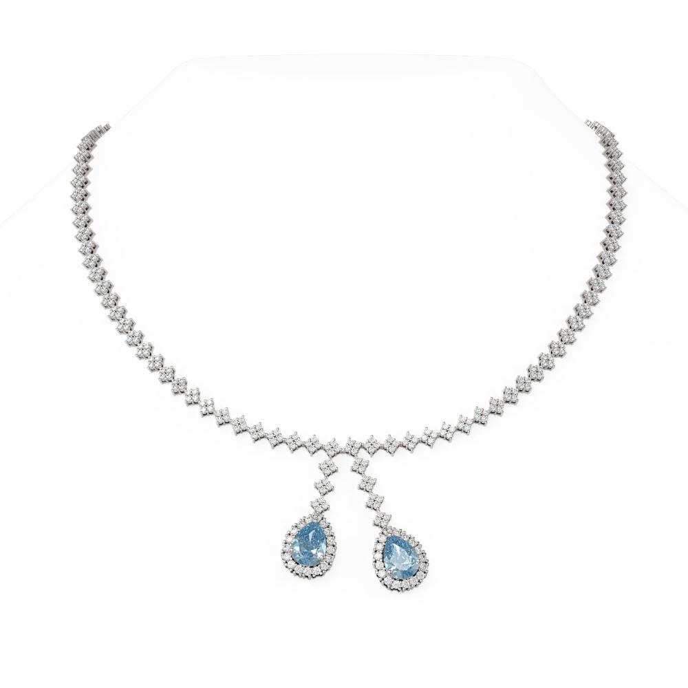 14.67 ctw Blue Topaz & Diamond Necklace 18K White Gold - REF-803N8F