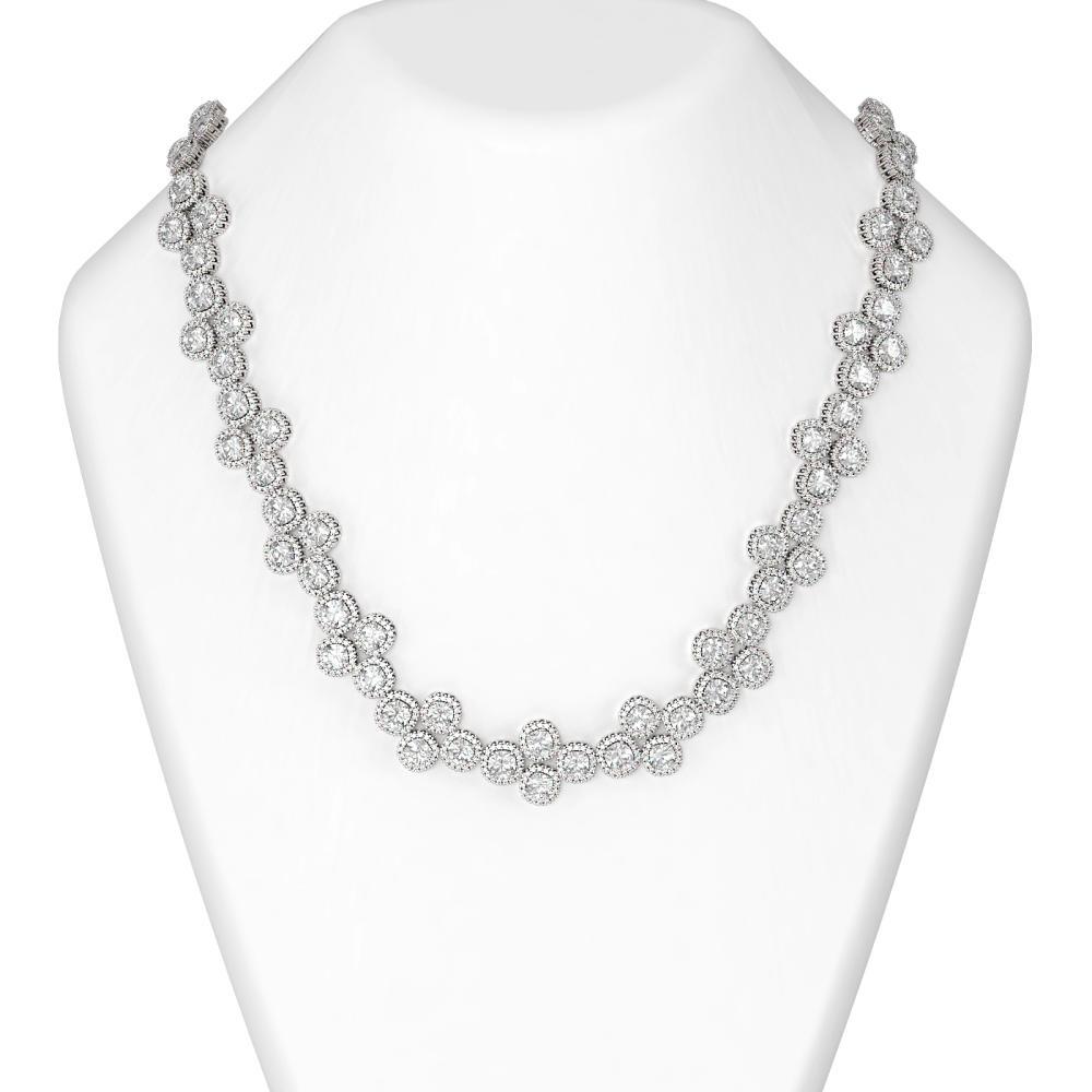 40 ctw Cushion Diamond Necklace 18K White Gold - REF-6373G6W
