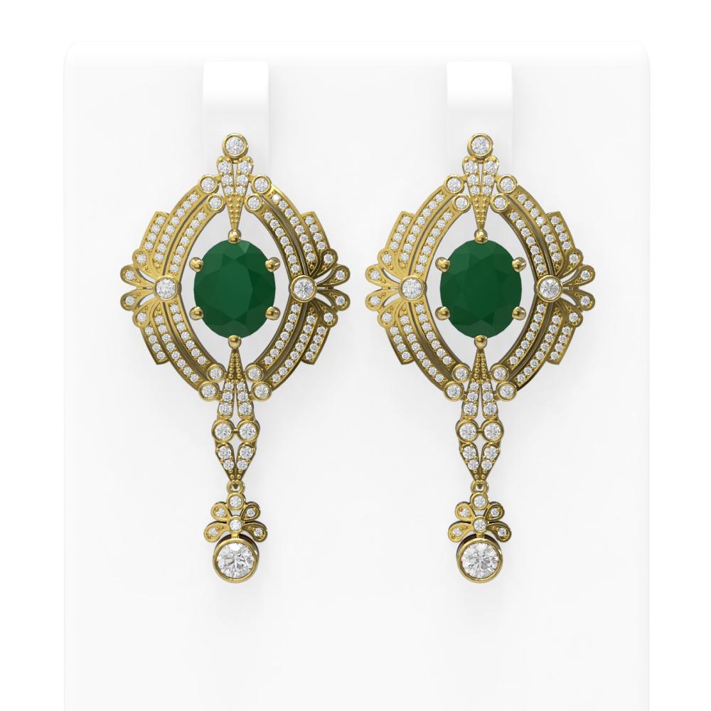 11.24 ctw Emerald & Diamond Earrings 18K Yellow Gold - REF-505W5H