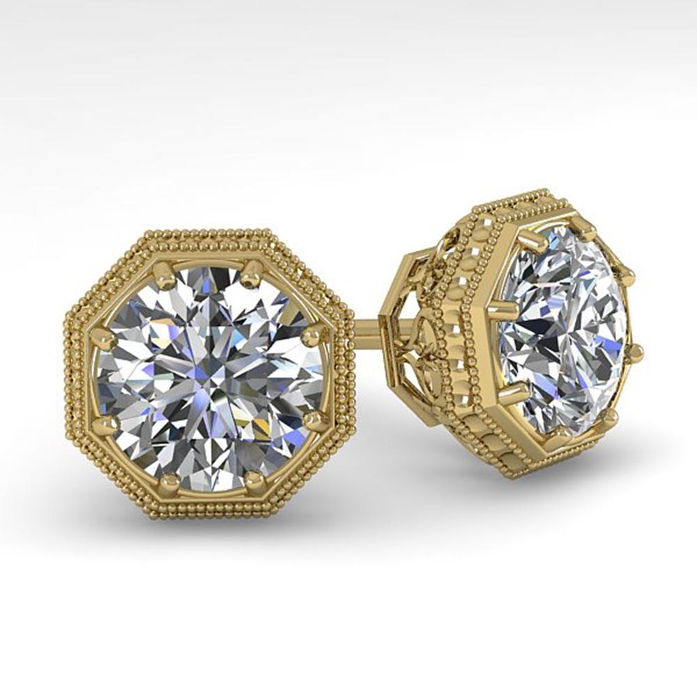 2.05 ctw Certified VS/SI Diamond Stud Earrings Art Deco 18K Yellow Gold - REF-561Y9X