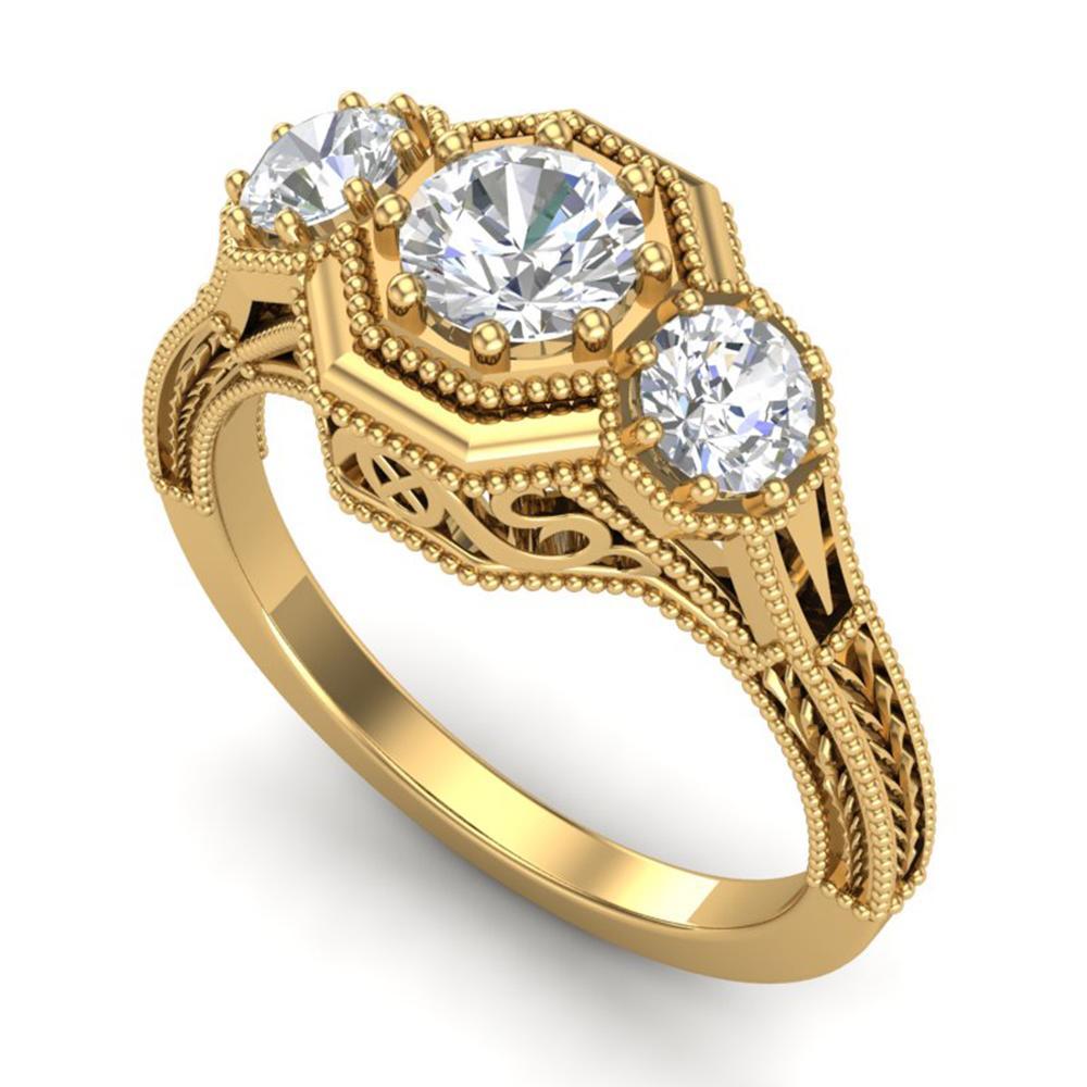 1.05 ctw VS/SI Diamond Solitaire Art Deco 3 Stone Ring 18k Yellow Gold - REF-200F2M