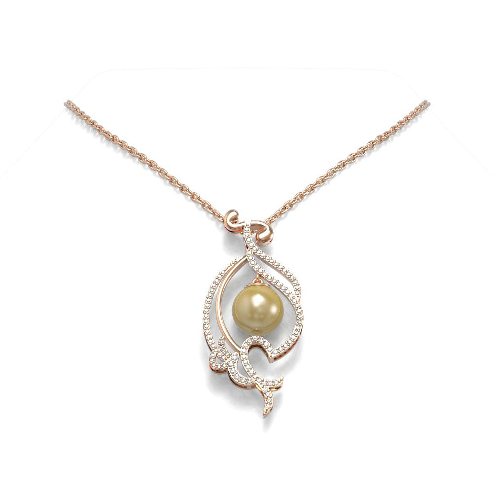 0.83 ctw Diamond & Pearl Necklace 18K Rose Gold - REF-135G5W