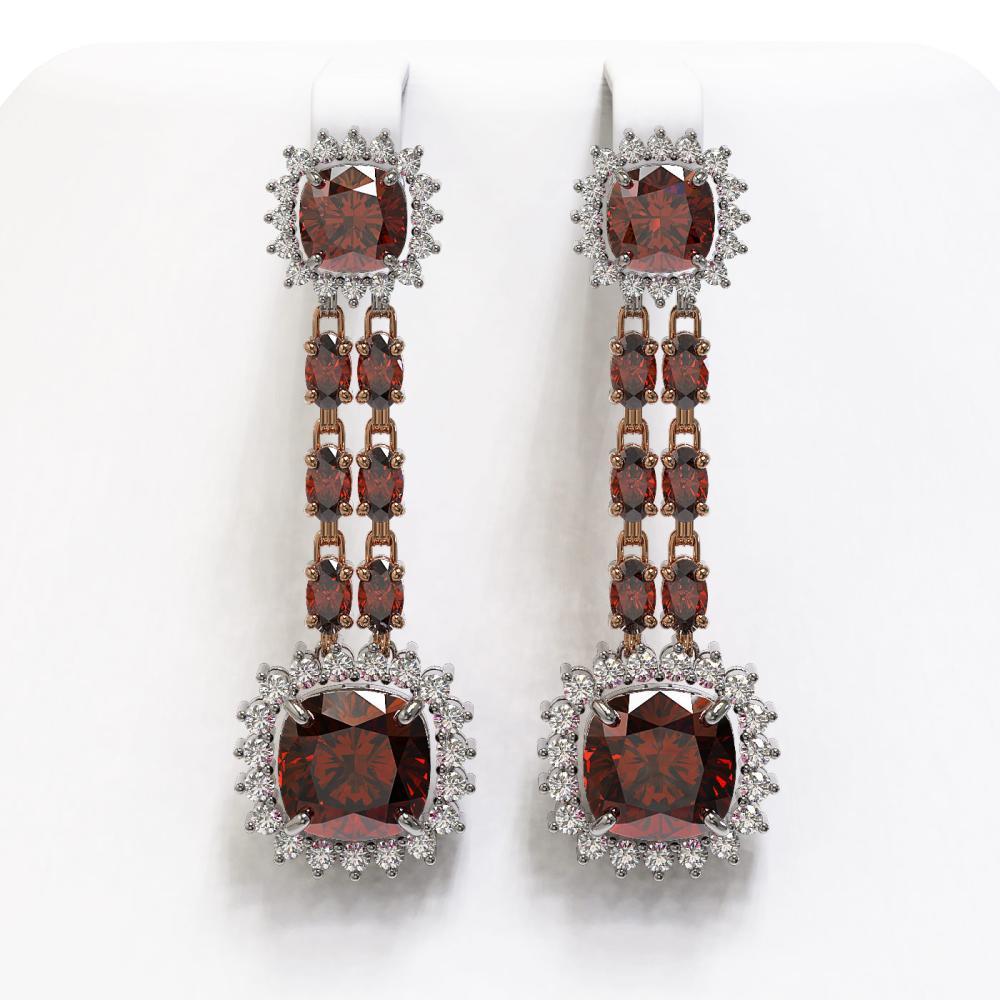 18.92 ctw Garnet & Diamond Earrings 14K Rose Gold - REF-231Y5X