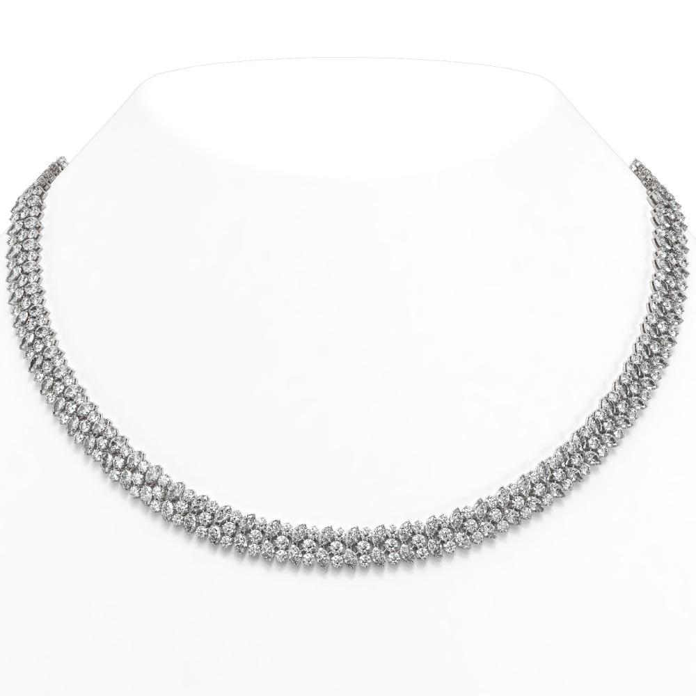 44 ctw Marquise Cut Diamond Designer Necklace 18K White Gold - REF-4996N8F