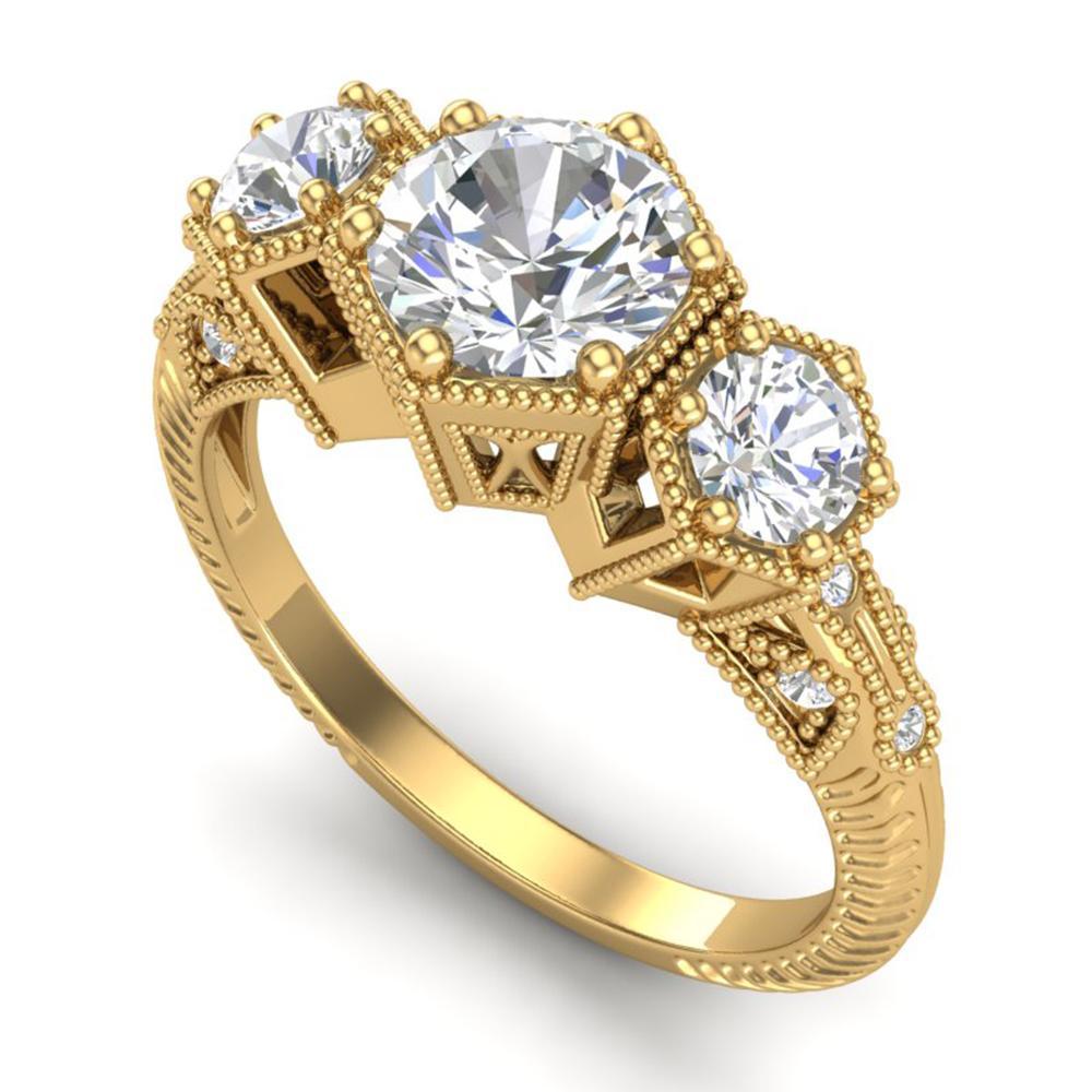 1.66 ctw VS/SI Diamond Solitaire Art Deco 3 Stone Ring 18k Yellow Gold - REF-445N5F