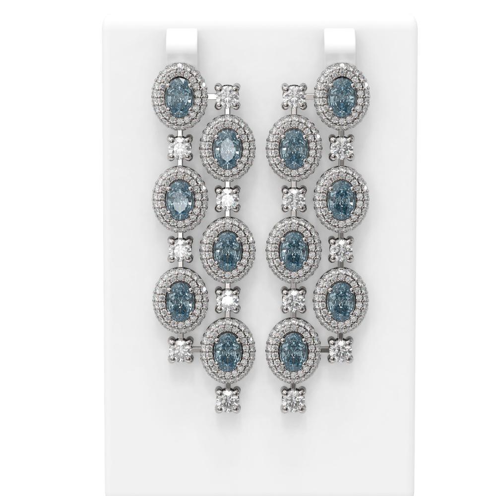 18.36 ctw Aquamarine & Diamond Earrings 18K White Gold - REF-889A3N