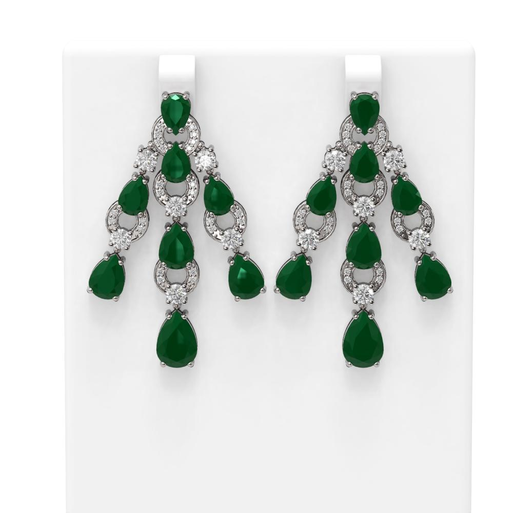 27.26 ctw Emerald & Diamond Earrings 18K White Gold - REF-456M8G