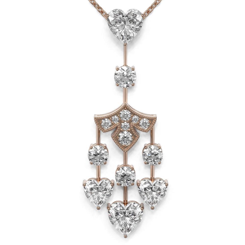 3.75 ctw Heart Diamond Designer Necklace 18K Rose Gold - REF-750K9Y