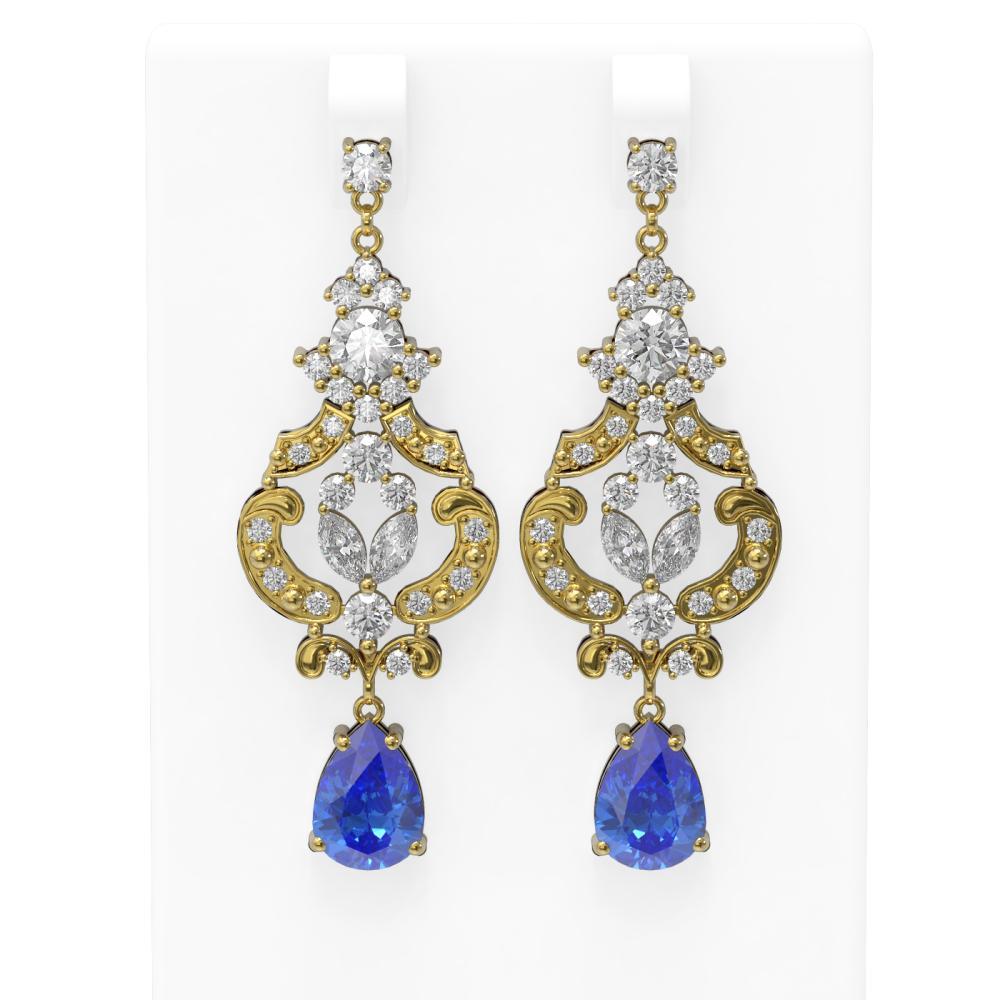 11.64 ctw Tanzanite & Diamond Earrings 18K Yellow Gold - REF-890F9M