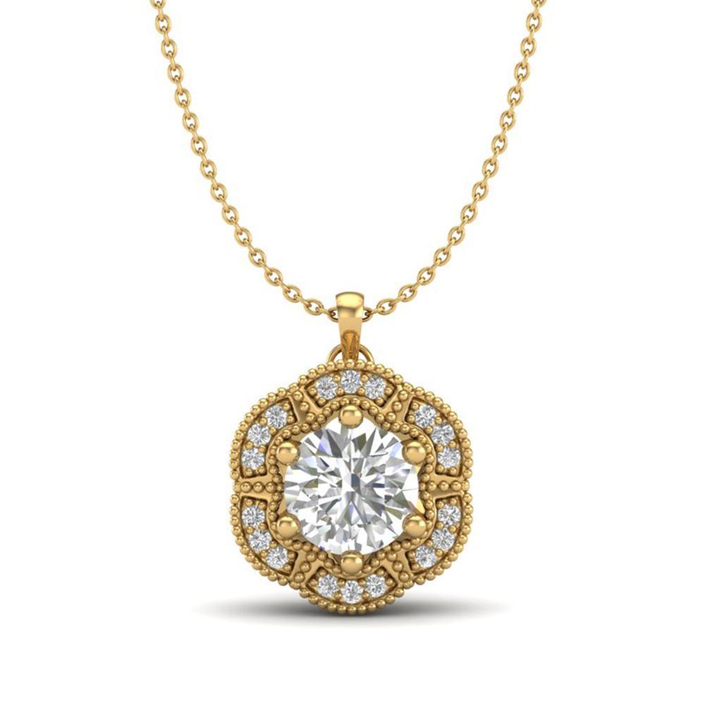 1.01 ctw VS/SI Diamond Solitaire Art Deco Necklace 18k Yellow Gold - REF-245H5R