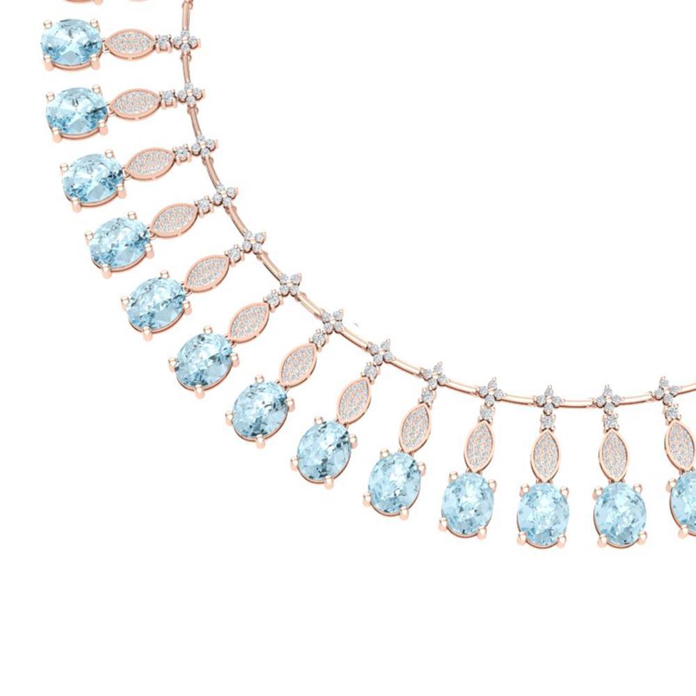 65.76 ctw Sky Topaz & VS Diamond Necklace 18K Rose Gold - REF-945Y5X