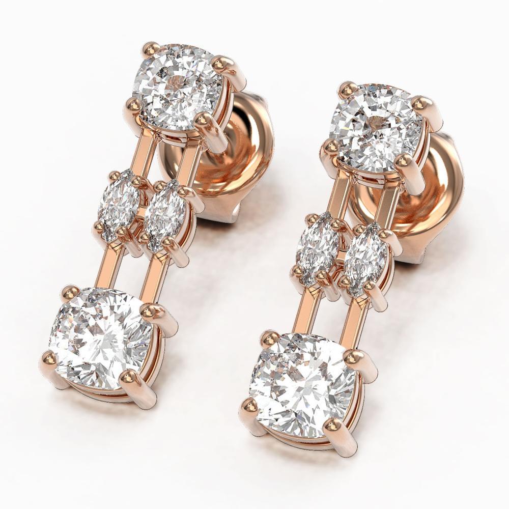 3 ctw Cushion & Marquise Cut Diamond Earrings 18K Rose Gold - REF-443Y6X