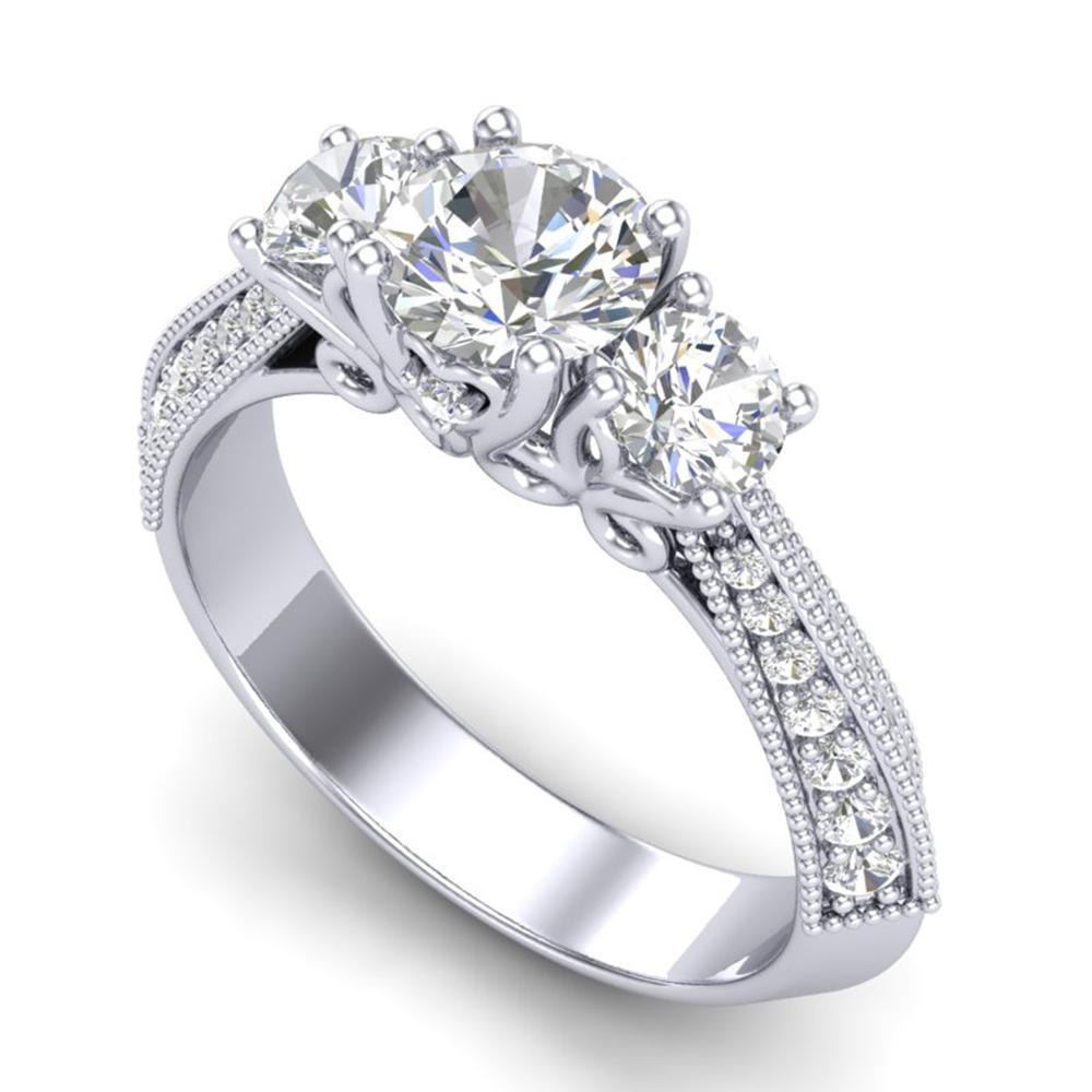 1.81 ctw VS/SI Diamond Art Deco 3 Stone Ring 18k White Gold - REF-272F8M