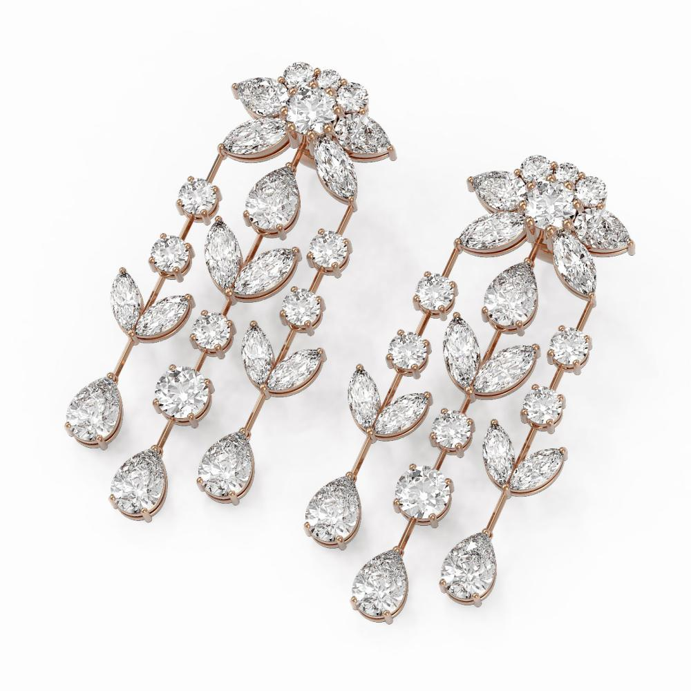 18 ctw Mixed Cut Diamond Designer Earrings 18K Rose Gold - REF-2661X3A