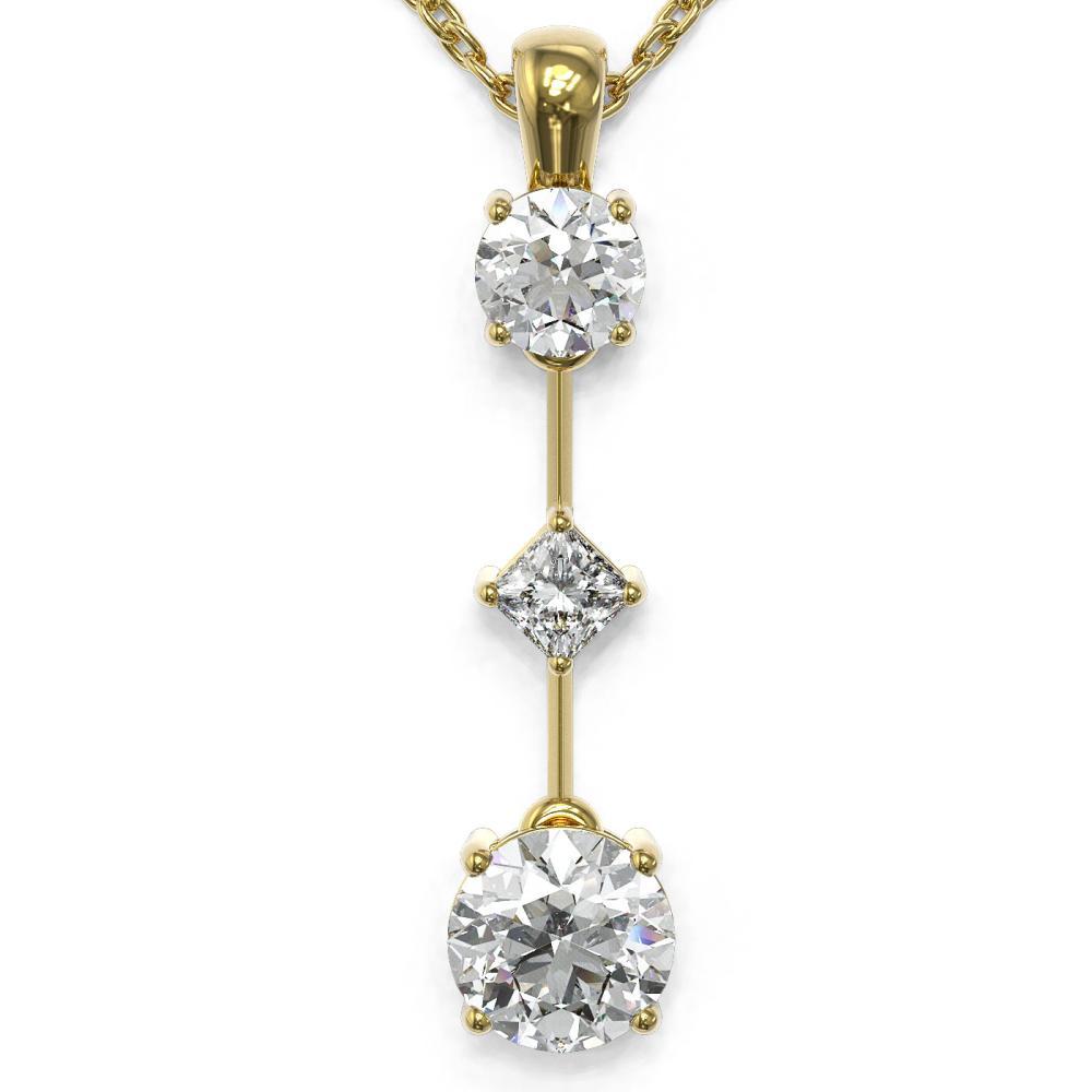 1.16 ctw Diamond Designer Necklace 18K Yellow Gold - REF-163A3N