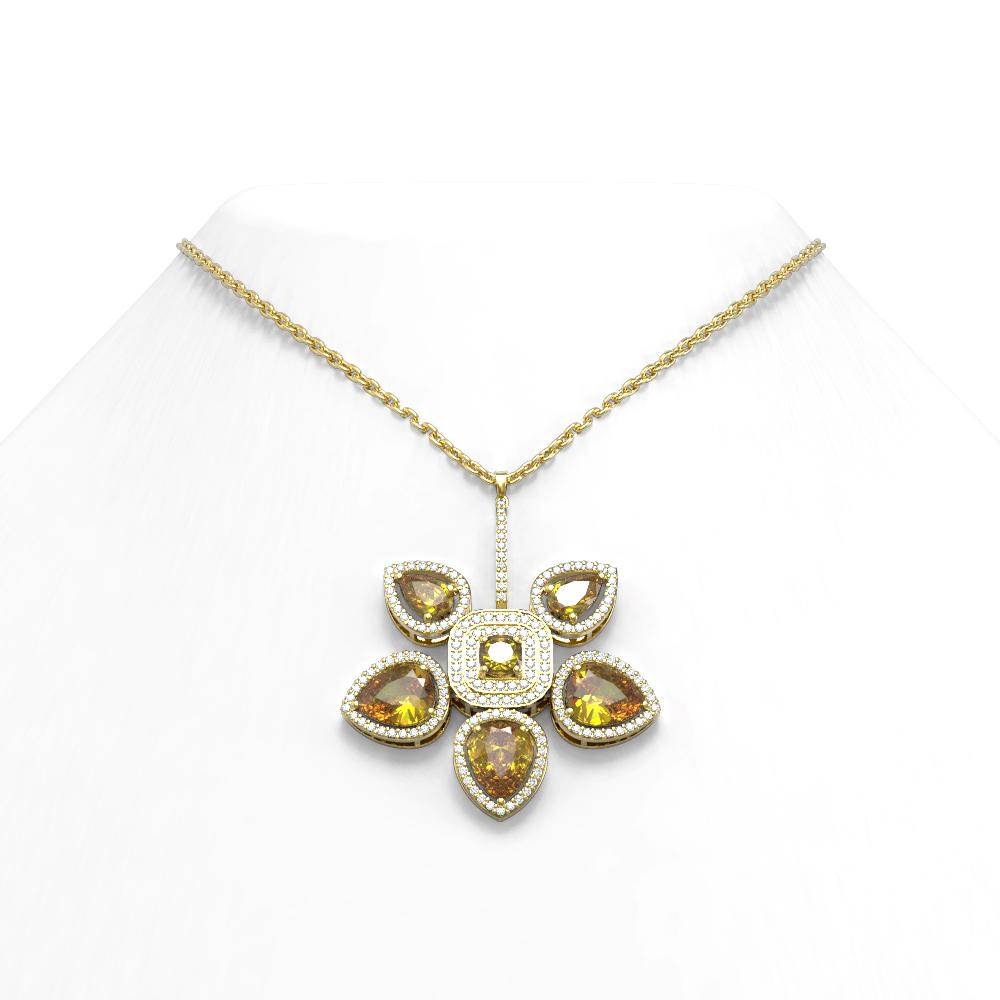 11.52 ctw Canary Citrine Diamond Necklace 18K Yellow Gold - REF-249A3N