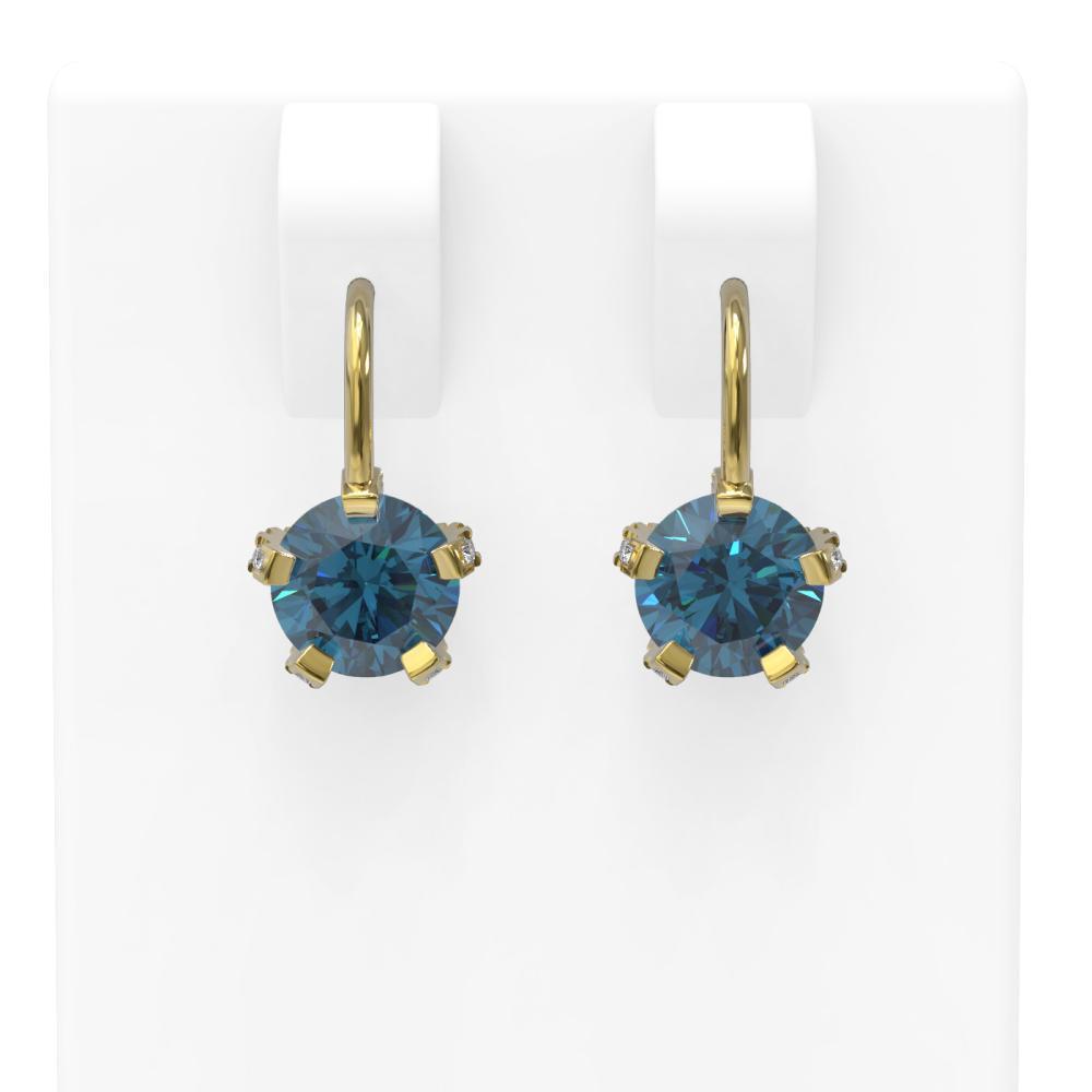 2.32 ctw Intense Blue Diamond Earrings 18K Yellow Gold - REF-303A5N
