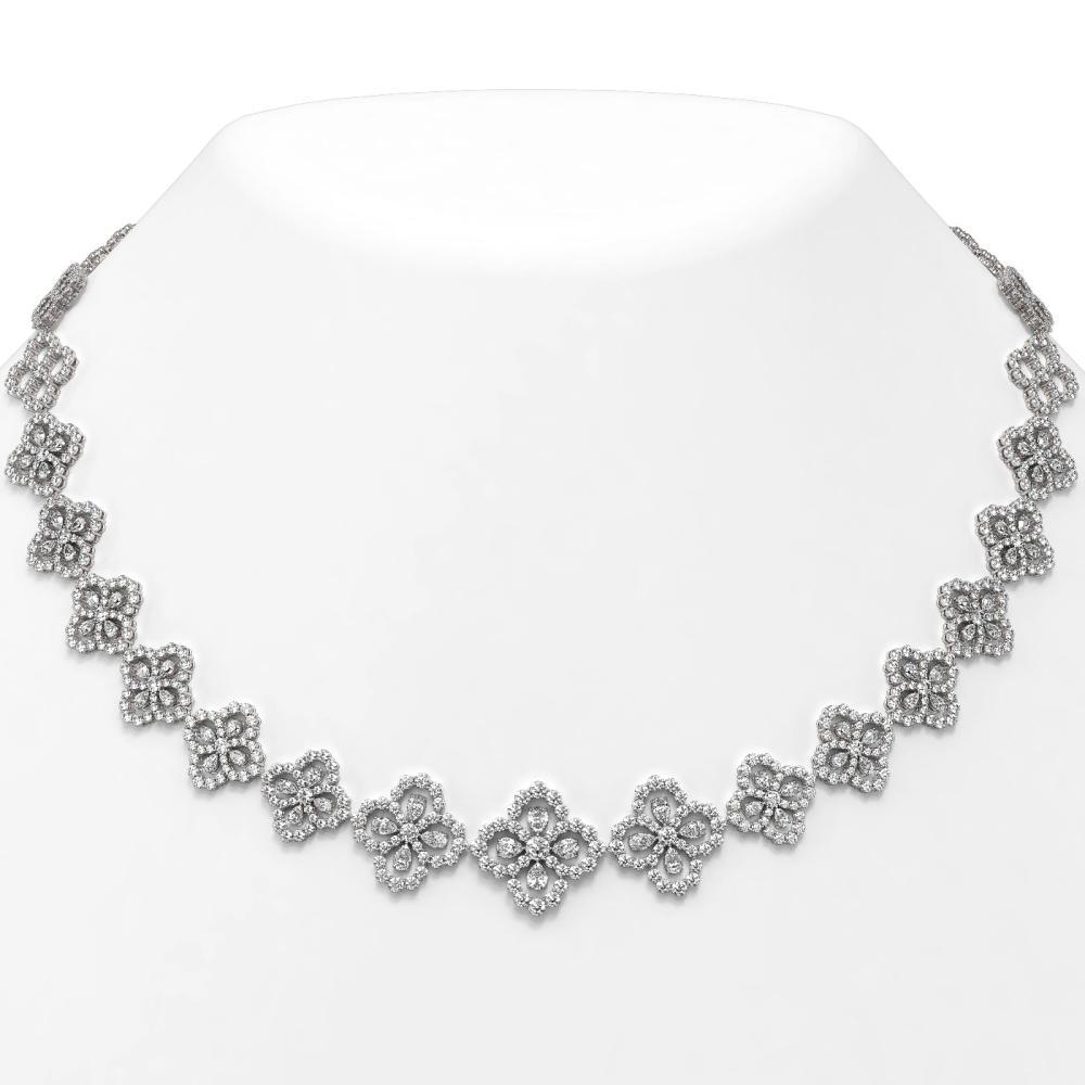 32 ctw Pear Cut Diamond Designer Necklace 18K White Gold - REF-2718W9H