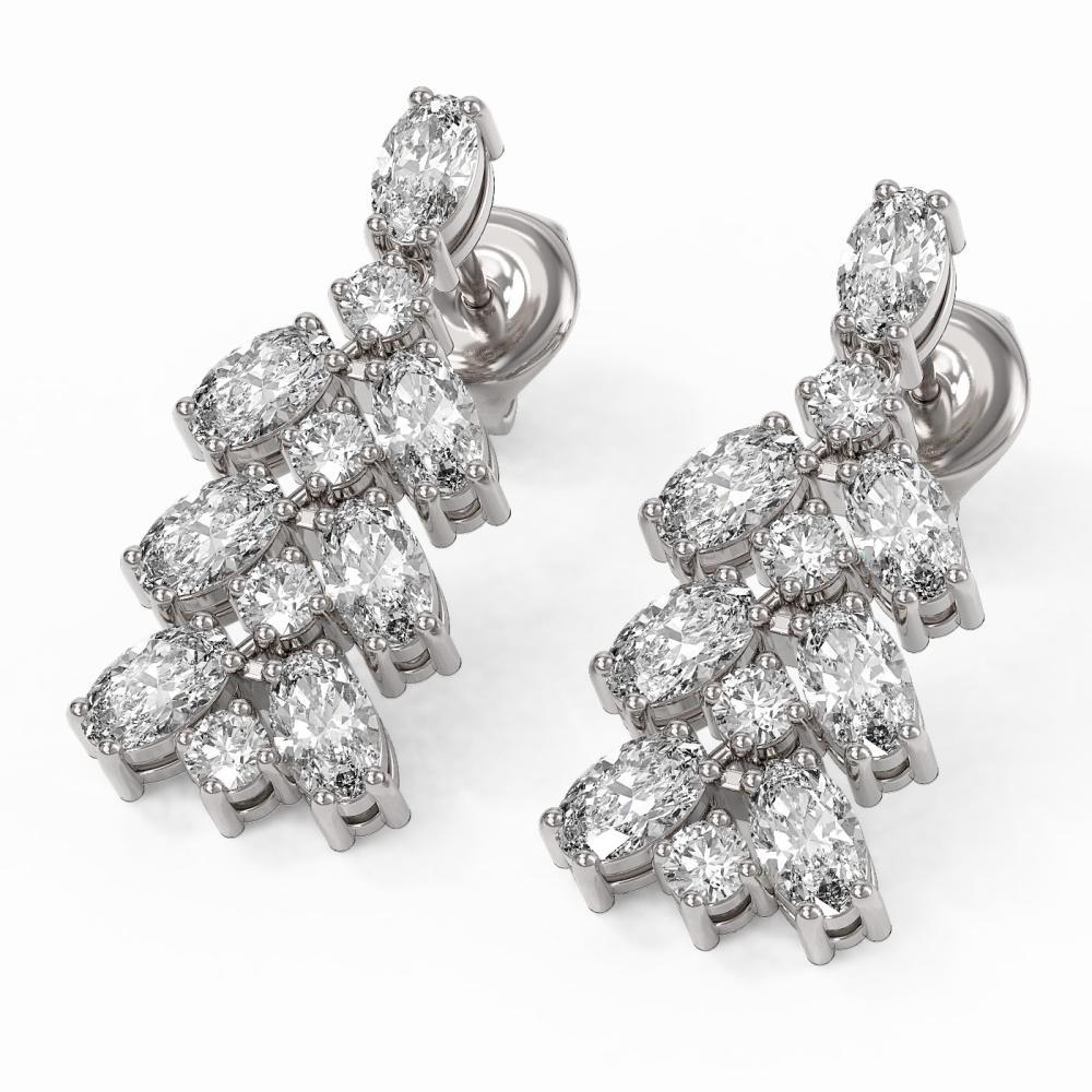 4.42 ctw Oval Diamond Designer Earrings 18K White Gold - REF-589X3A