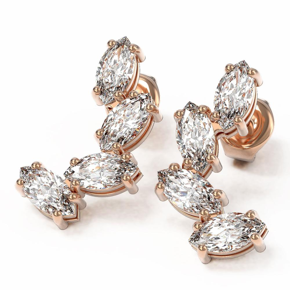 4 ctw Marquise Diamond Earrings 18K Rose Gold - REF-599G3W