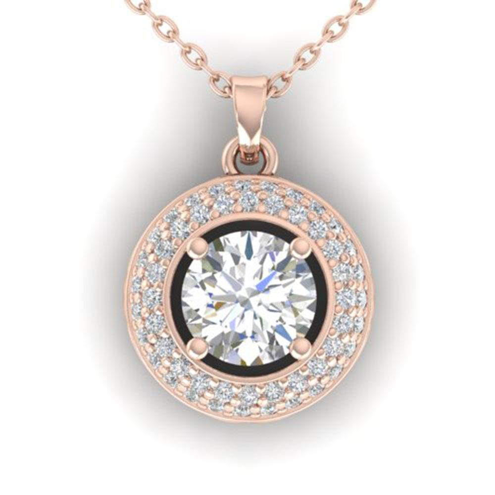 1.1 ctw Certified VS/SI Diamond Micro Stud Necklace 18k Rose Gold - REF-196G8W