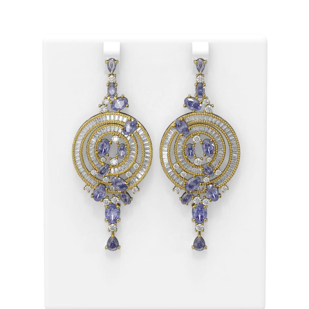 21.81 ctw Tanzanite & Diamond Earrings 18K Yellow Gold - REF-928F4M