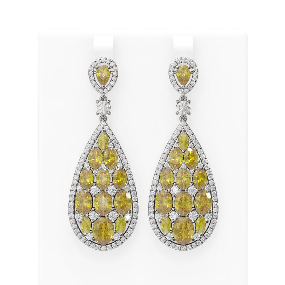 24.01 ctw Canary Citrine & Diamond Earrings 18K White Gold - REF-700M2G