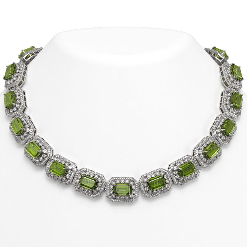 130.05 ctw Tourmaline & Diamond Victorian Necklace 14K White Gold - REF-3619N6F