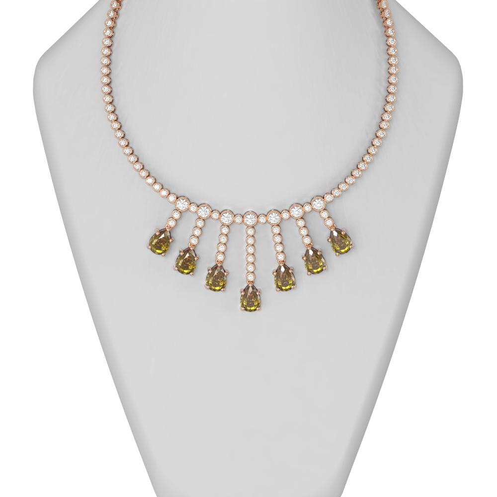33.67 ctw Canary Citrine & Diamond Necklace 18K Rose Gold - REF-1363M3G