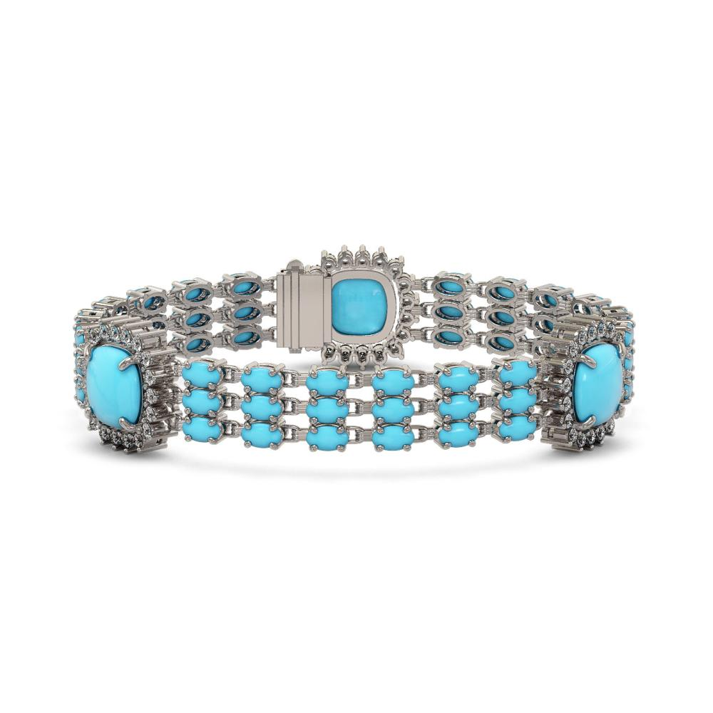 29.32 ctw Turquoise & Diamond Bracelet 14K White Gold - REF-345R5K