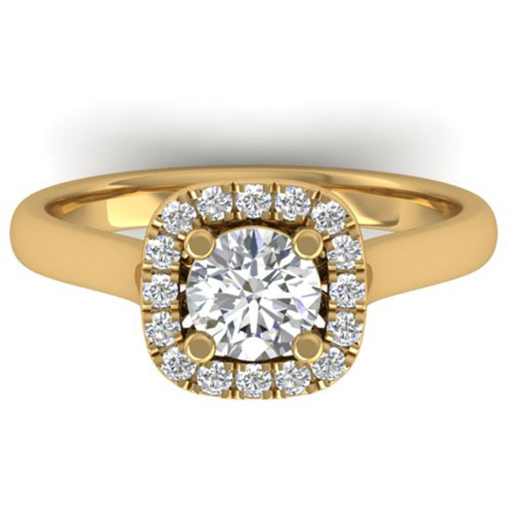 1.01 ctw Certified VS/SI Diamond Solitaire Halo Ring 18k Yellow Gold - REF-200W9H