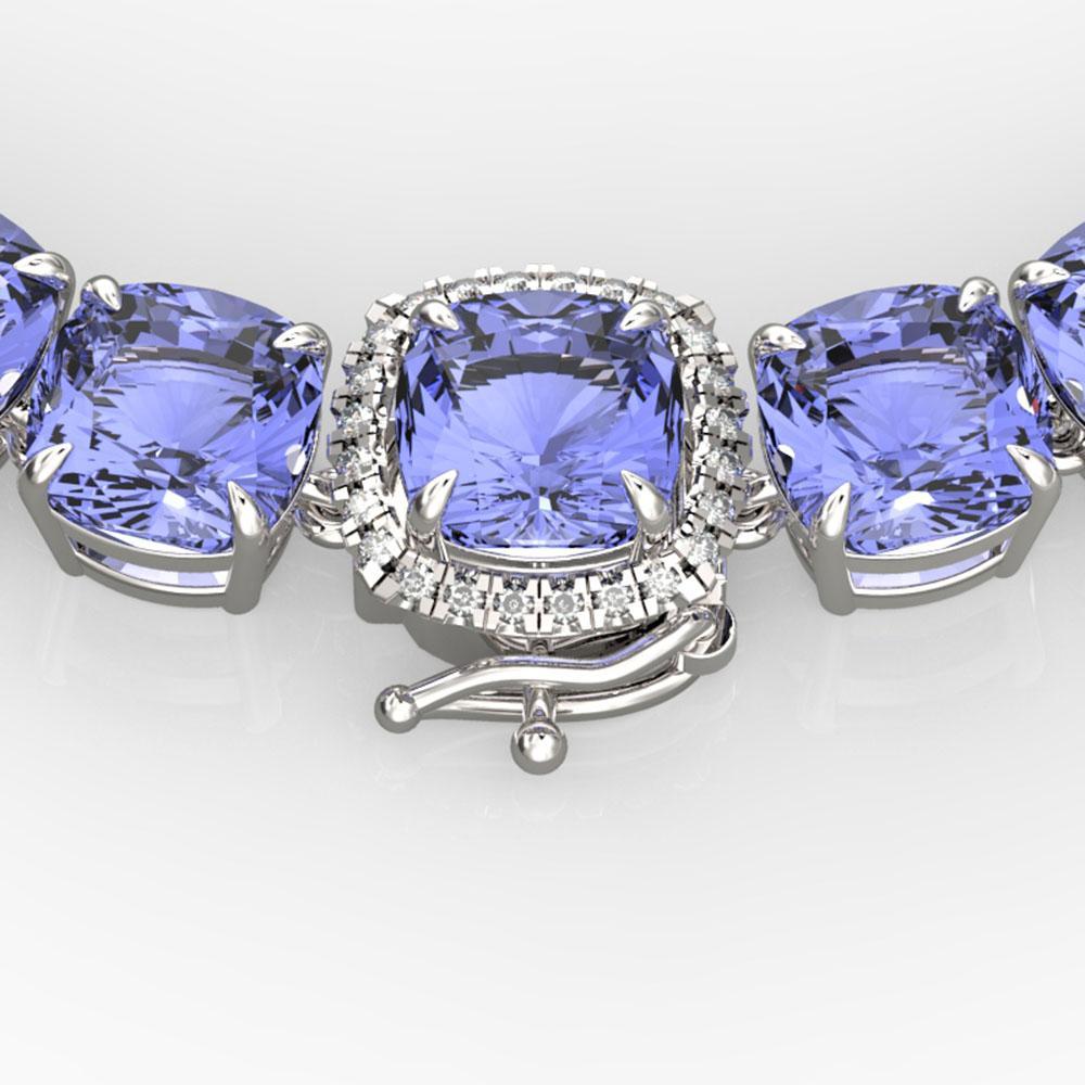100 ctw Tanzanite & VS/SI Diamond Necklace 14k White Gold - REF-1618N2F
