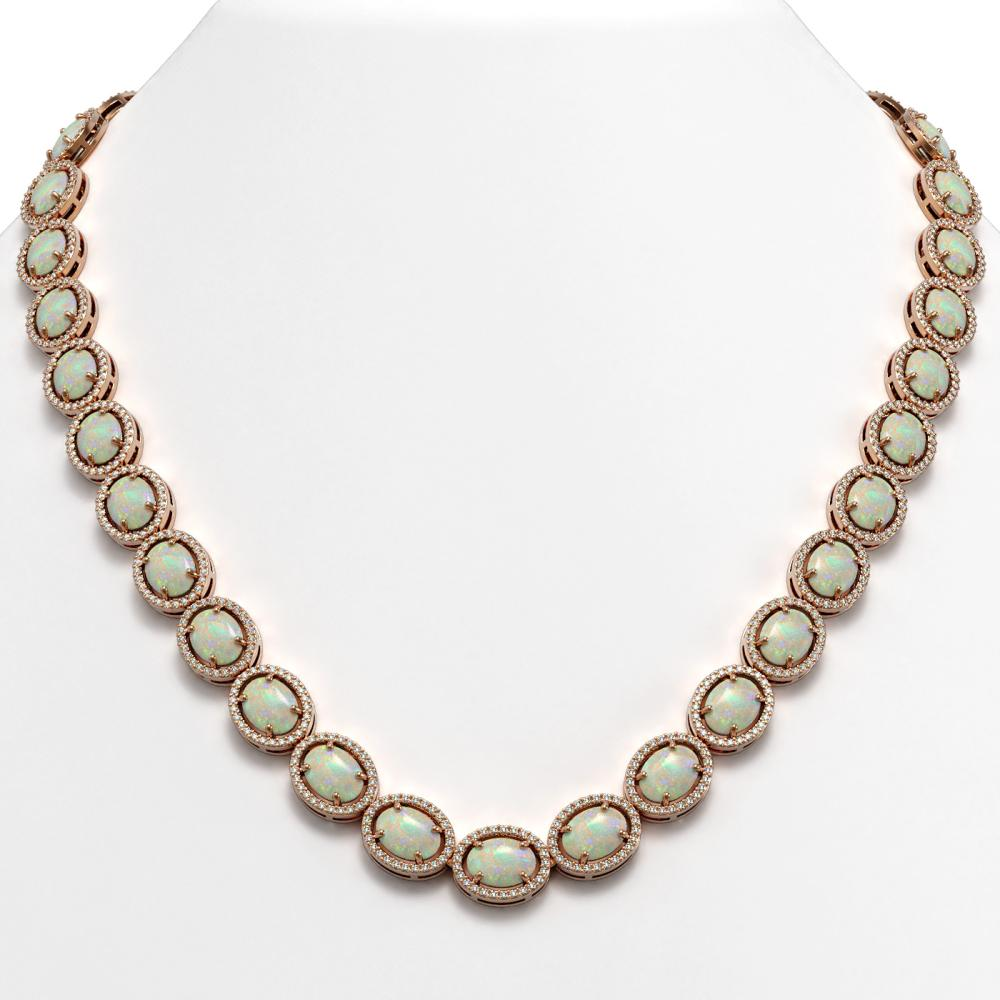 42.29 ctw Opal & Diamond Micro Pave Halo Necklace 10k Rose Gold - REF-791A3N
