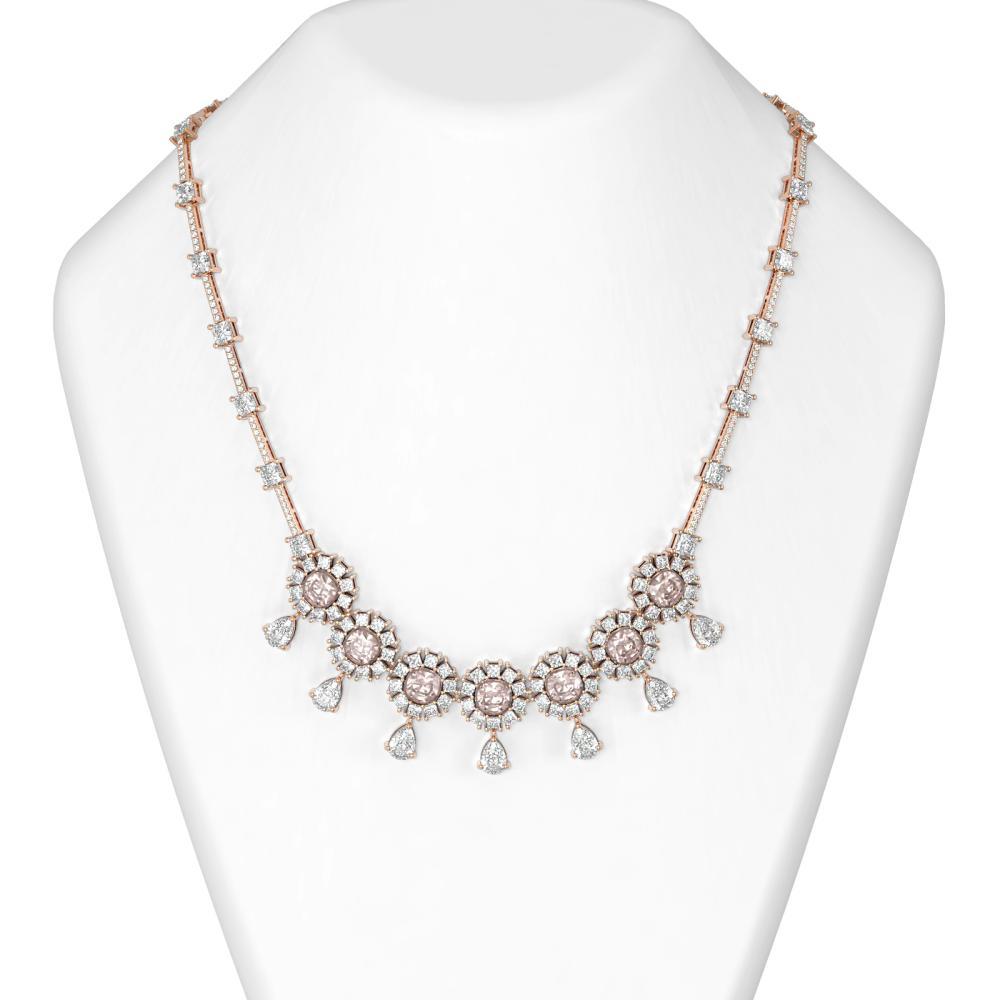 36.37 ctw Morganite & Diamond Necklace 18K Rose Gold - REF-3600R2K