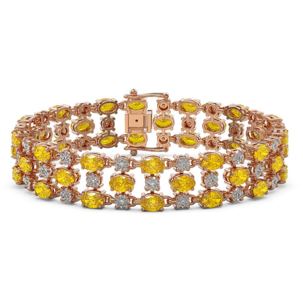 12.7 ctw Fancy Citrine & Diamond Row Bracelet 10K Rose Gold - REF-209K3Y