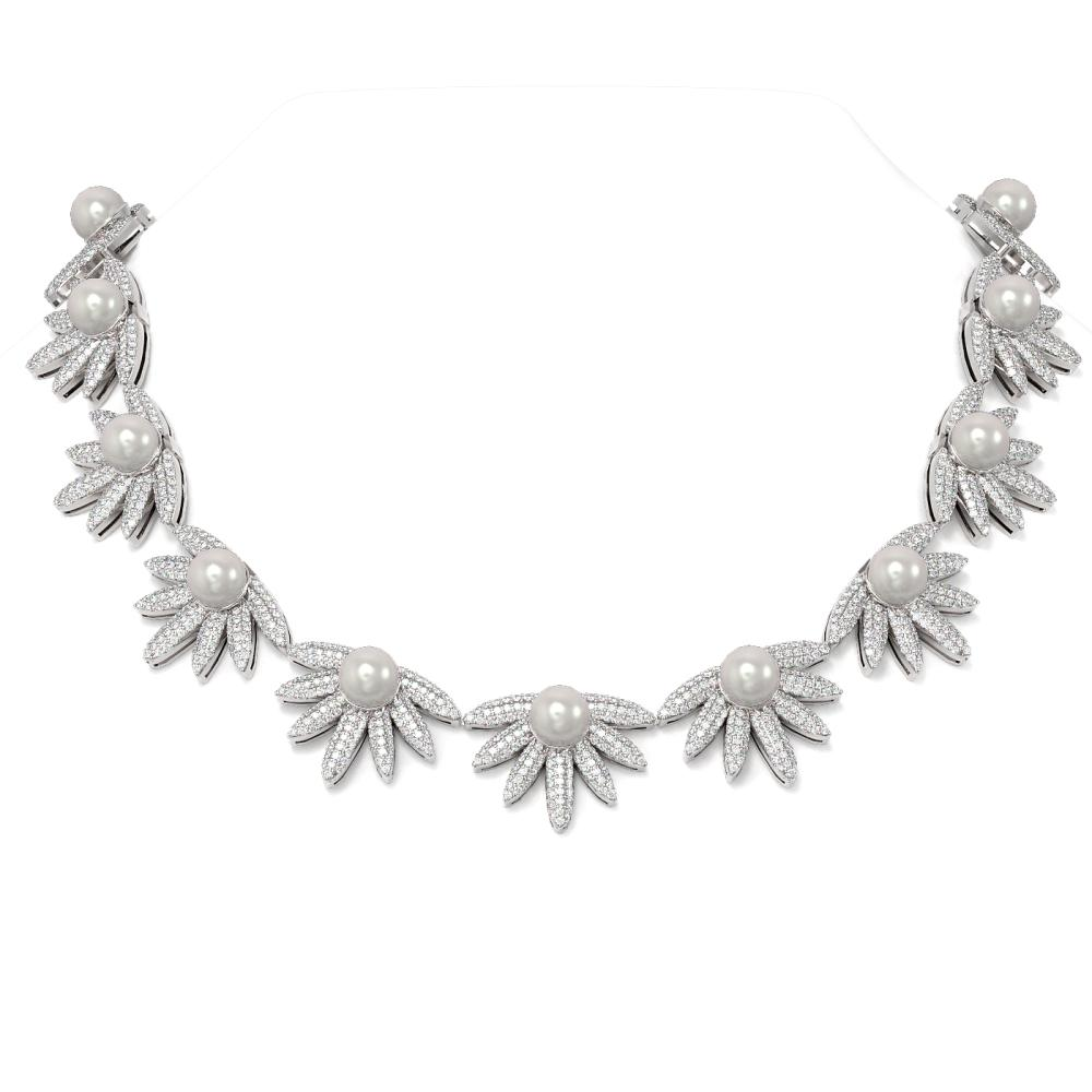 26 ctw Diamond & Pearl Necklace 18K White Gold - REF-2410A2N