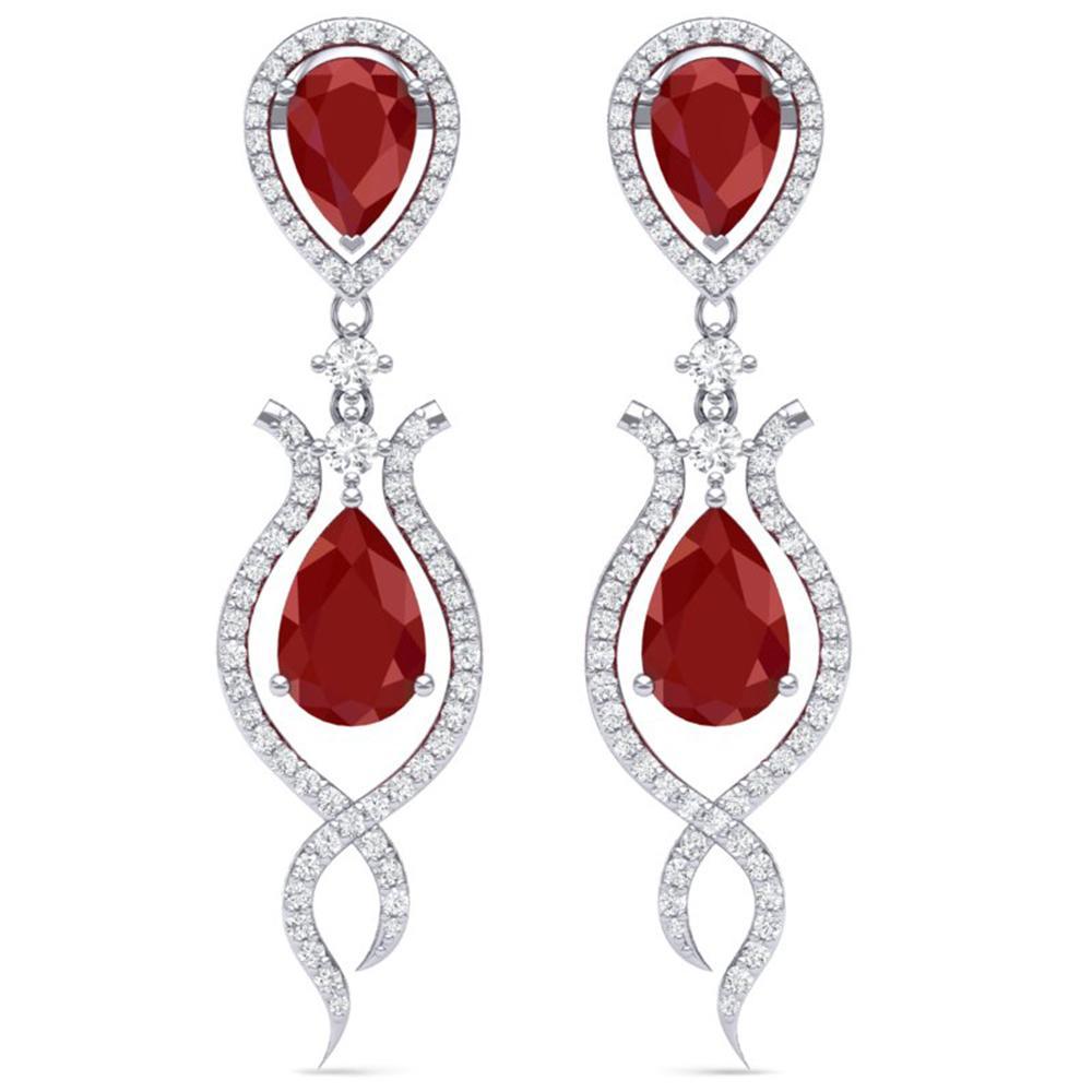 16.57 ctw Designer Ruby & VS Diamond Earrings 18K White Gold - REF-345N5F