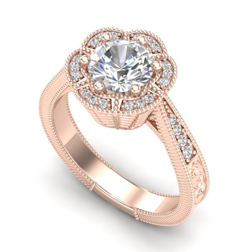 1.33 ctw VS/SI Diamond Solitaire Art Deco Ring 18k Rose Gold - REF-418G2W