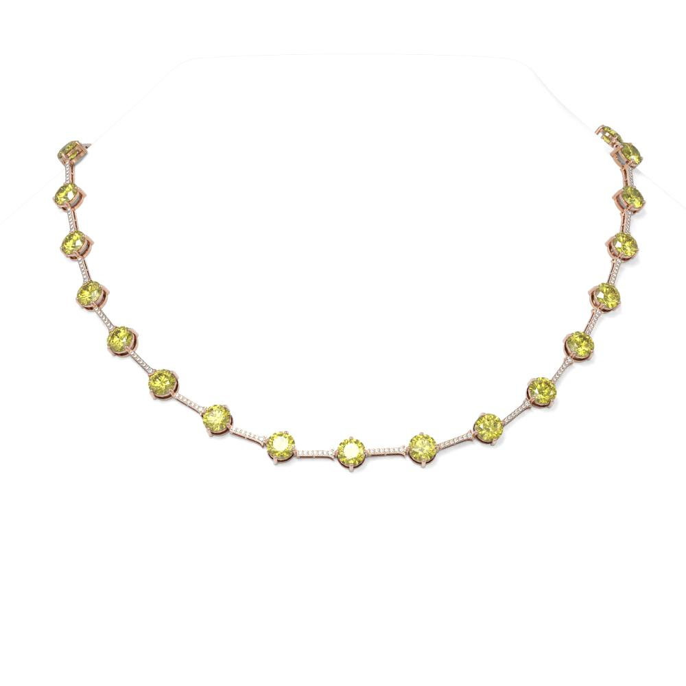 22 ctw Fancy Yellow Diamond Necklace 18K Rose Gold - REF-3387A3N