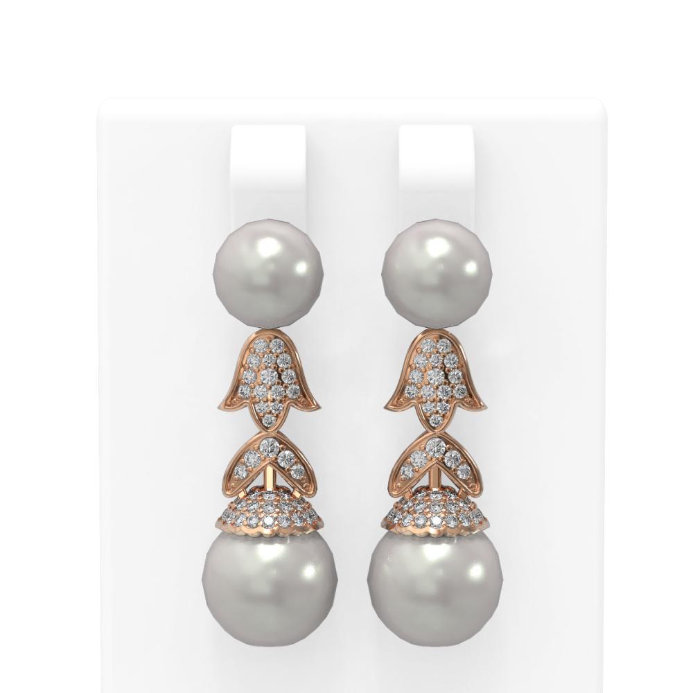 1.01 ctw Diamond & Pearl Earrings 18K Rose Gold - REF-154G2W