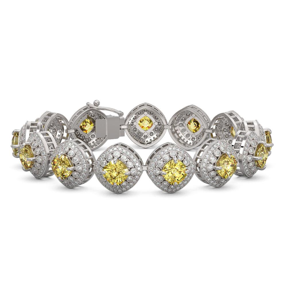 28.35 ctw Canary Citrine & Diamond Victorian Bracelet 14K White Gold - REF-805N5F