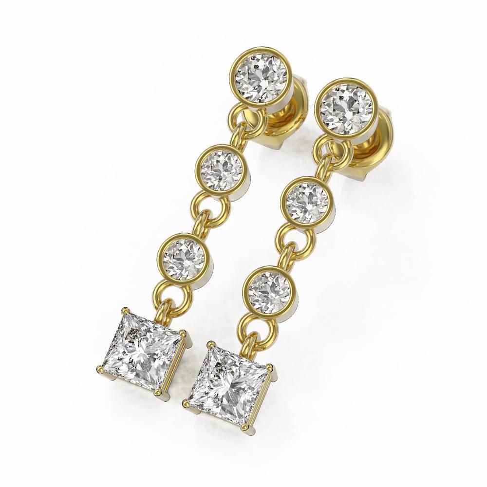 2 ctw Princess Cut Diamond Designer Earrings 18K Yellow Gold - REF-239Y9X