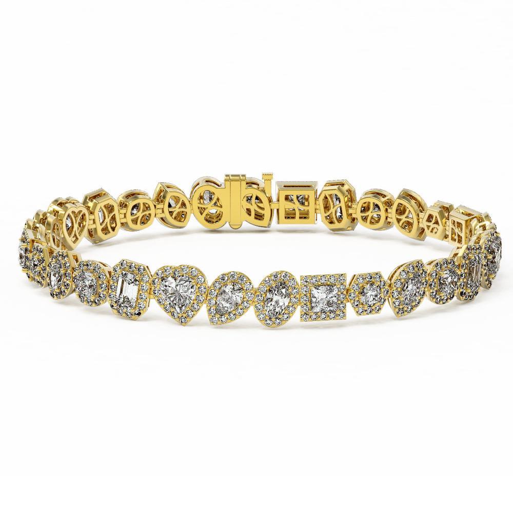 13 ctw Mix Cut Diamonds Designer Bracelet 18K Yellow Gold - REF-1871A8N