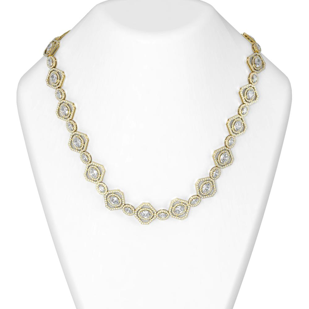 31.57 ctw Oval Diamond Necklace 18K Yellow Gold - REF-5645A3N