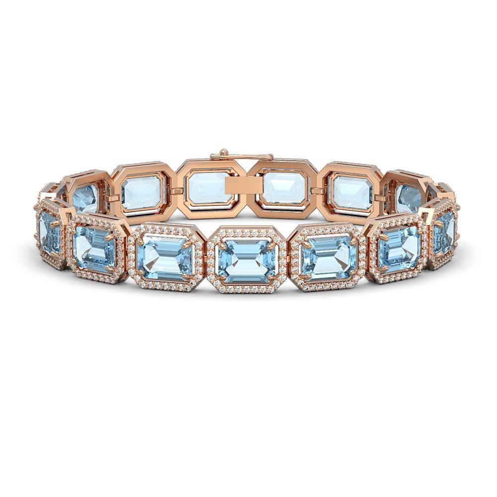 36.81 ctw Aquamarine & Diamond Micro Pave Halo Bracelet 10k Rose Gold - REF-600X4A