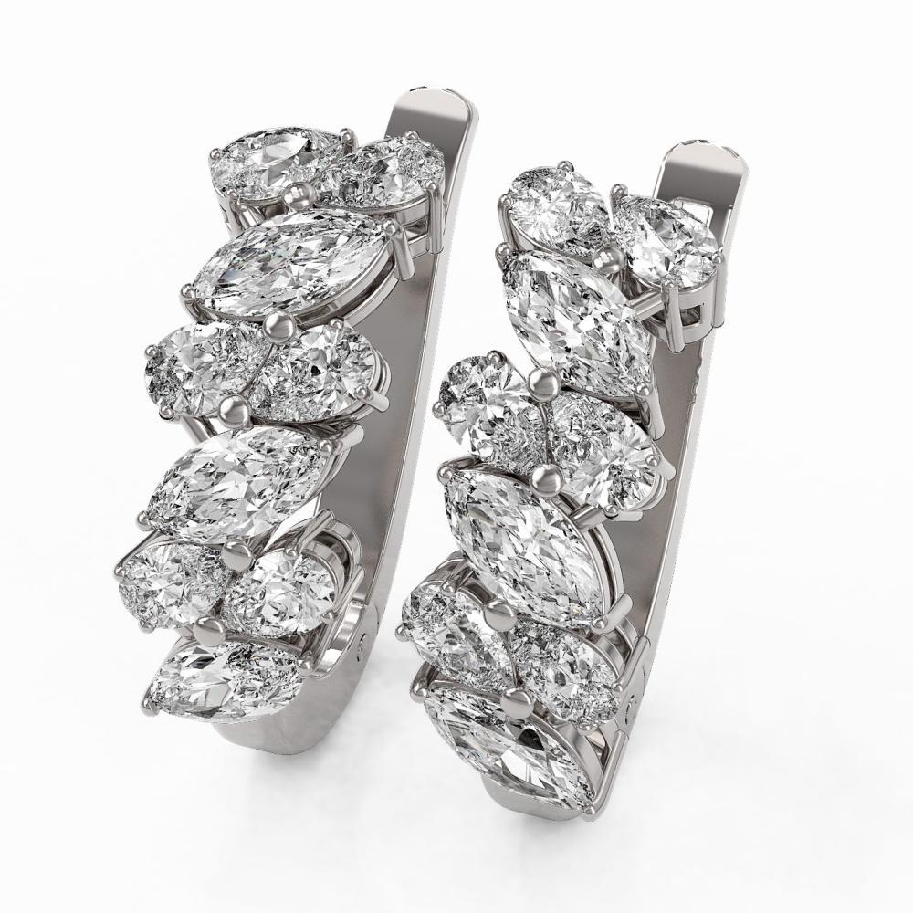 3.84 ctw Marquise & Pear Cut Diamond Earrings 18K White Gold - REF-575F3M