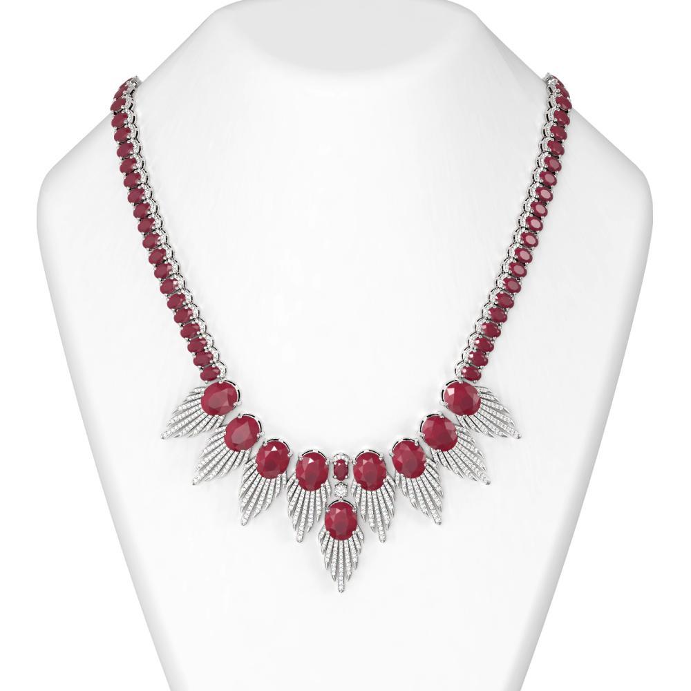 88.87 ctw Ruby & Diamond Necklace 18K White Gold - REF-1854K2Y