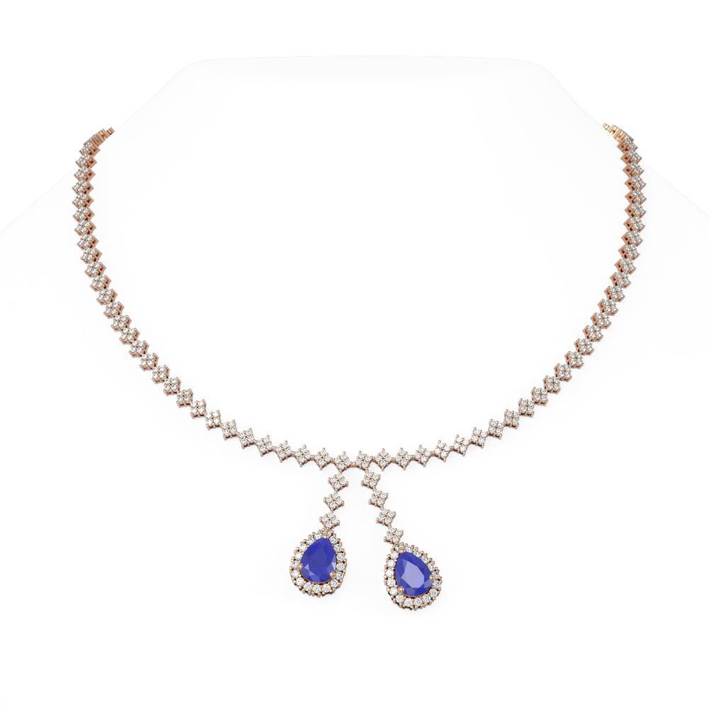 16.87 ctw Sapphire & Diamond Necklace 18K Rose Gold - REF-905G5W